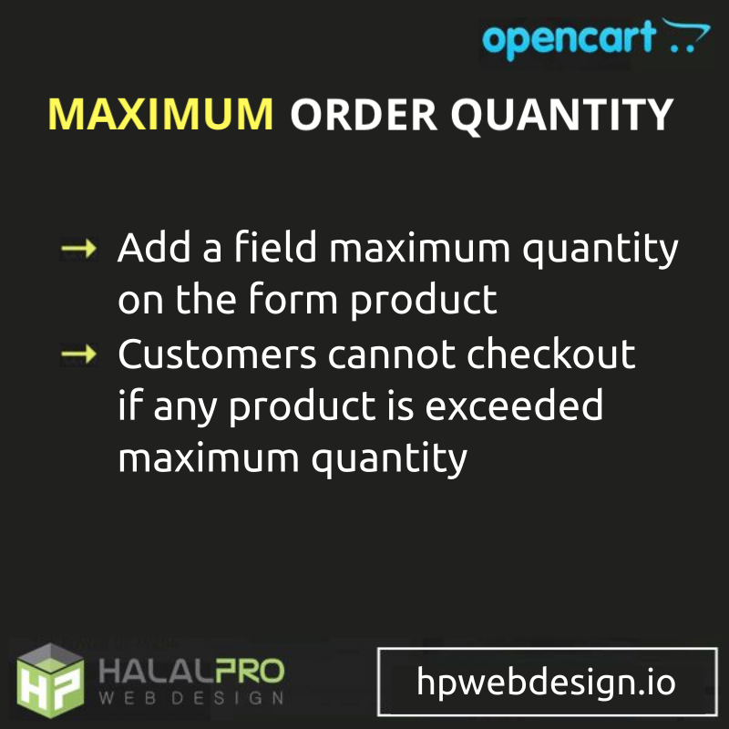 Maximum Order Quantity OpenCart