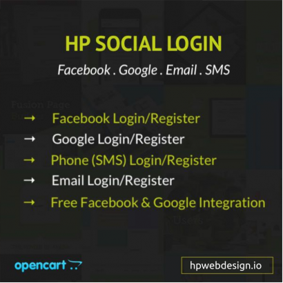 Social Media Login (Facebook, Google, Email, SMS) OpenCart