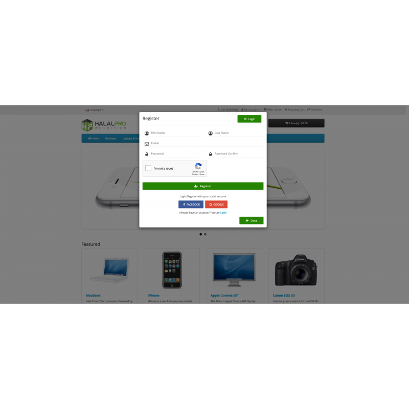 Social Media Login (Facebook, Google, Email, SMS) OpenCart