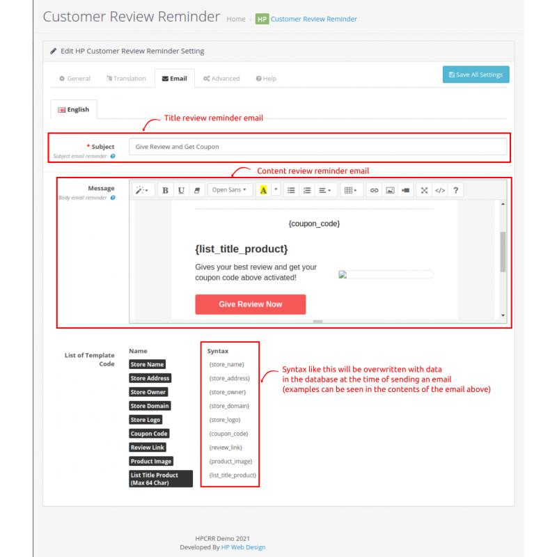 Customer Review Reminder Opencart