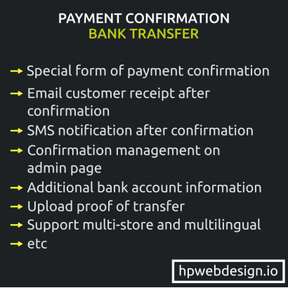 Bank Transfer Payment Confirmation Opencart