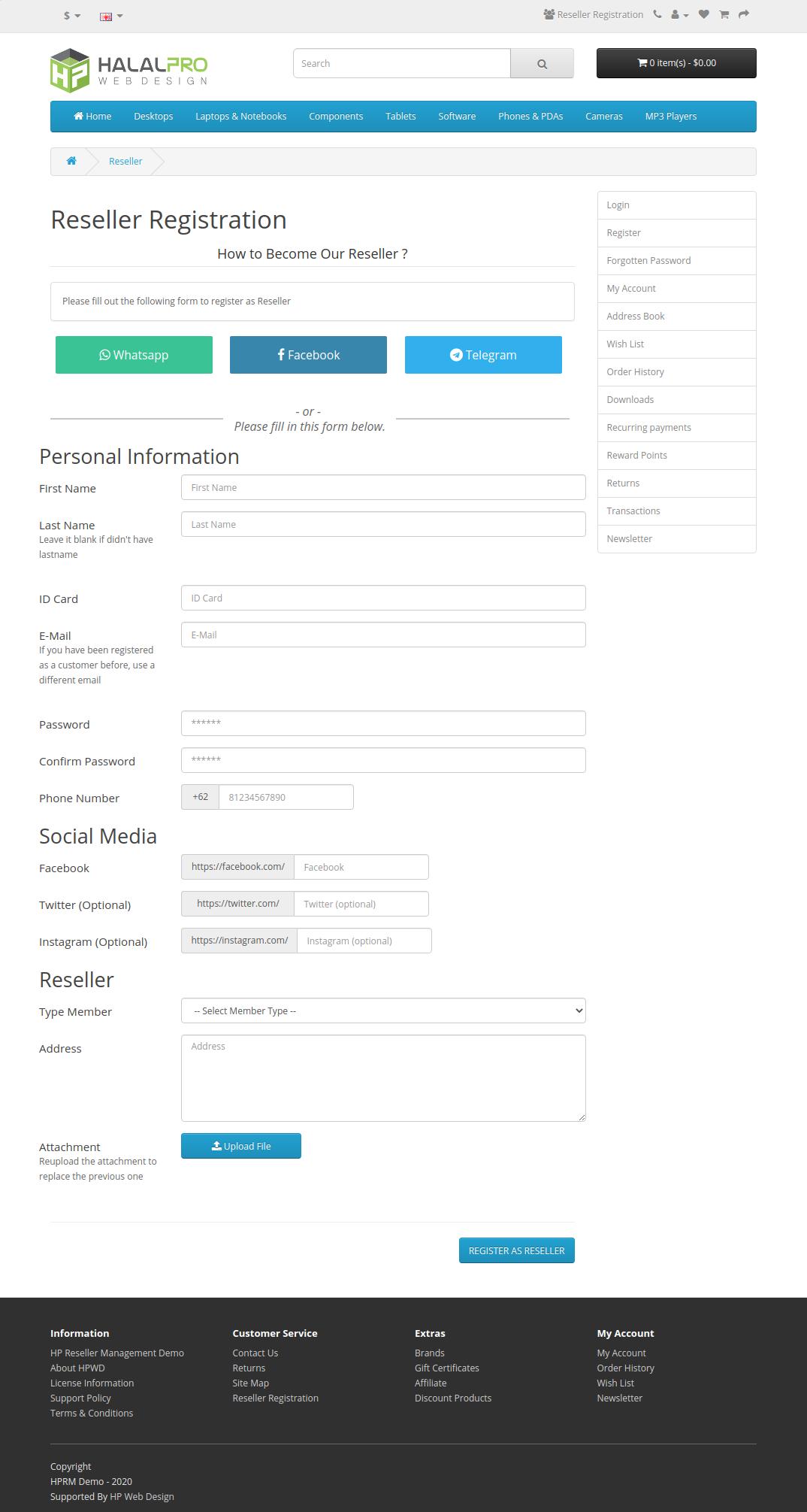 form pendaftaran reseller opencart